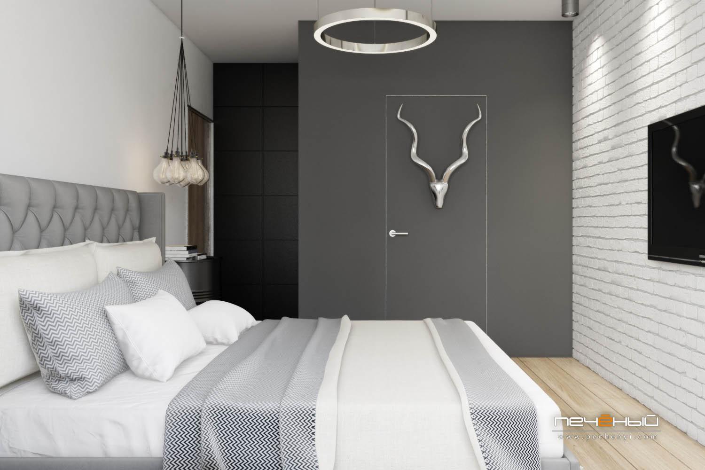 Спальня в серых тонах